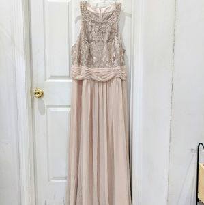 Eliza J Embellished Lace and Chiffon Gown